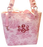Toile Baby Diaper Bags with Monogram.
